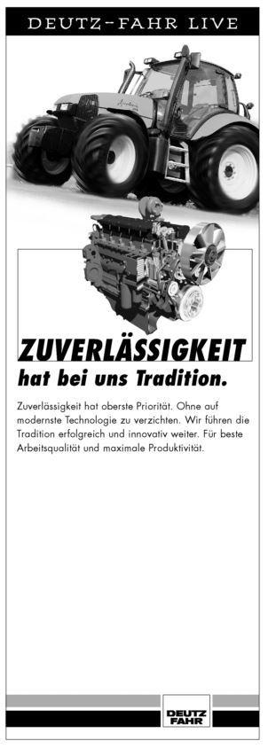 DEUTZ-FAHR LIVE, Zuverlässigkeit hat bei uns Tradition.