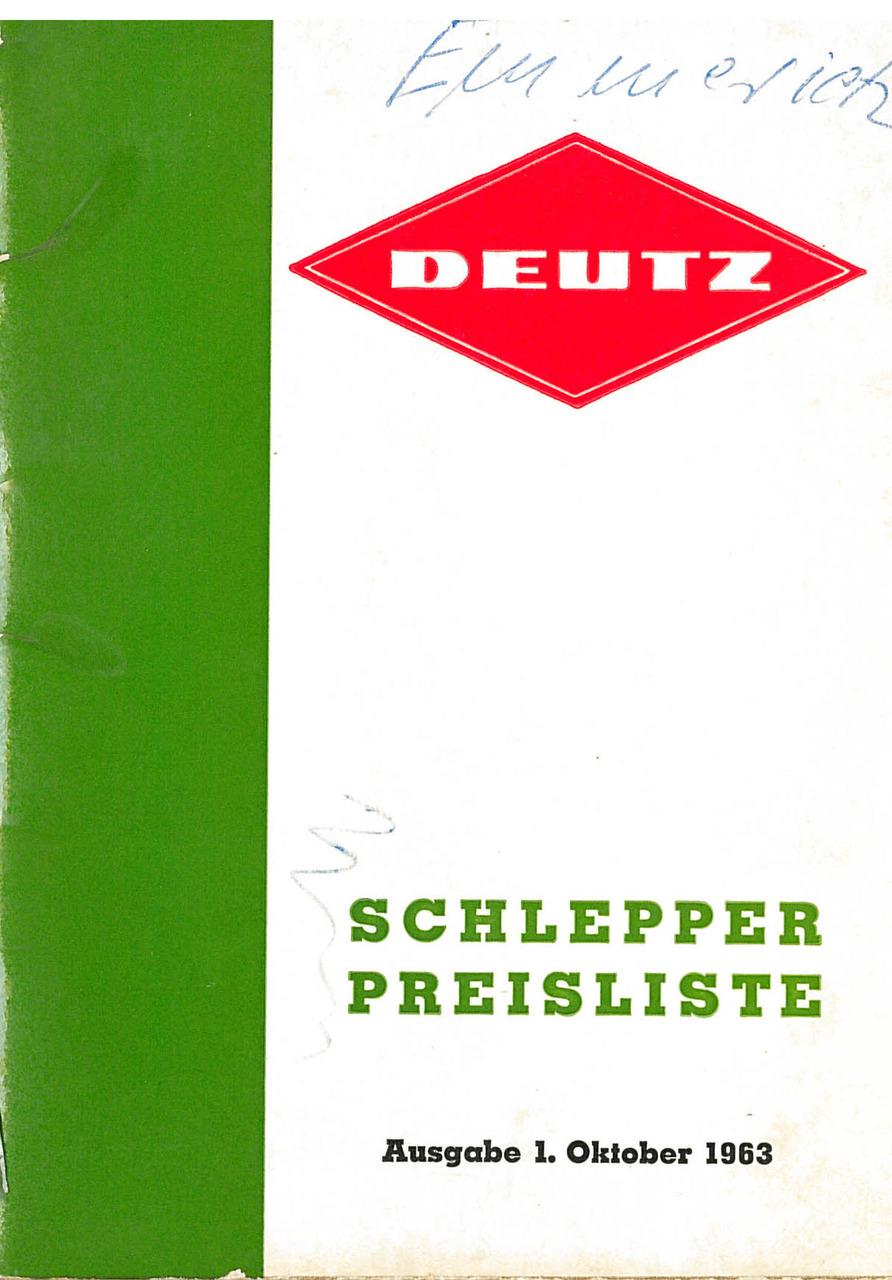 Deutz / Schlepper / Preisliste / Ausgabe 1. Oktober 1963