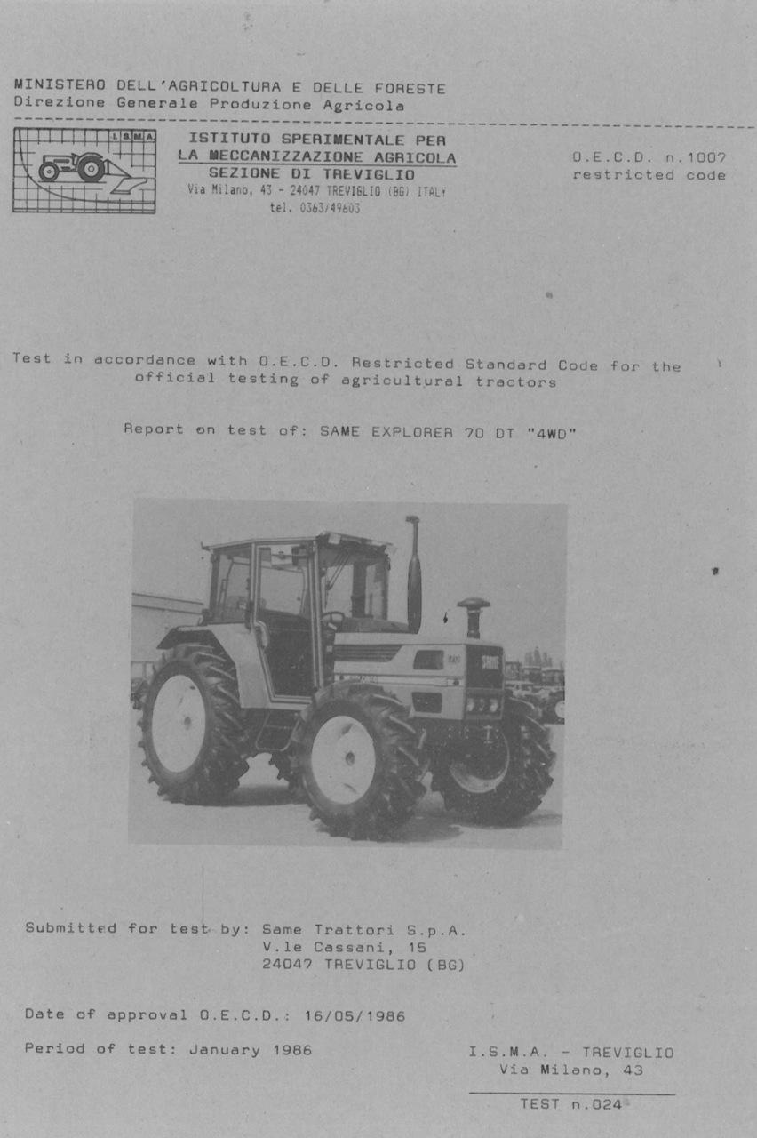 """Report test of SAME Explorer 70 DT """"4WD"""""""