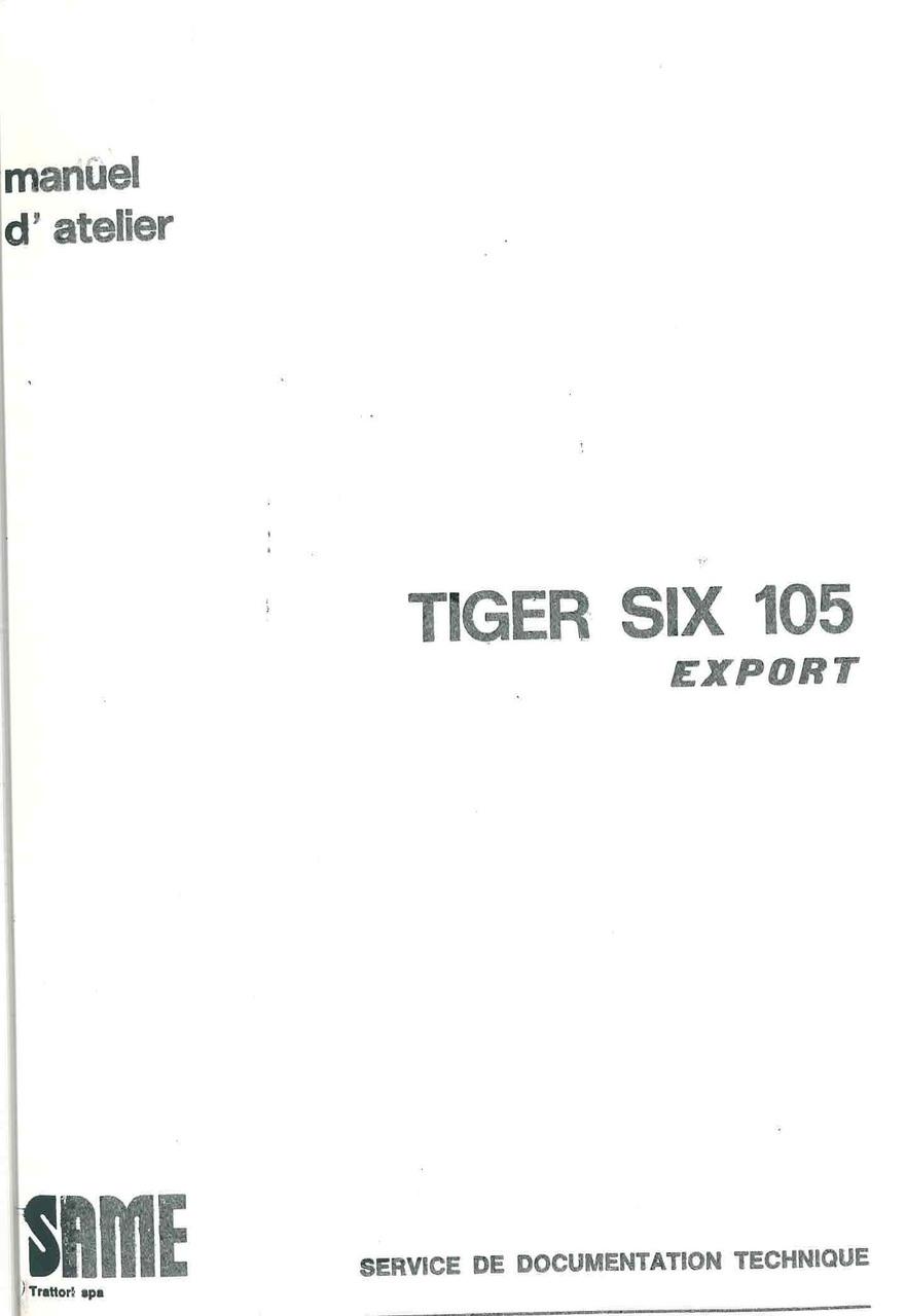 TIGER SIX 105 EXPORT - Manuel d'atelier