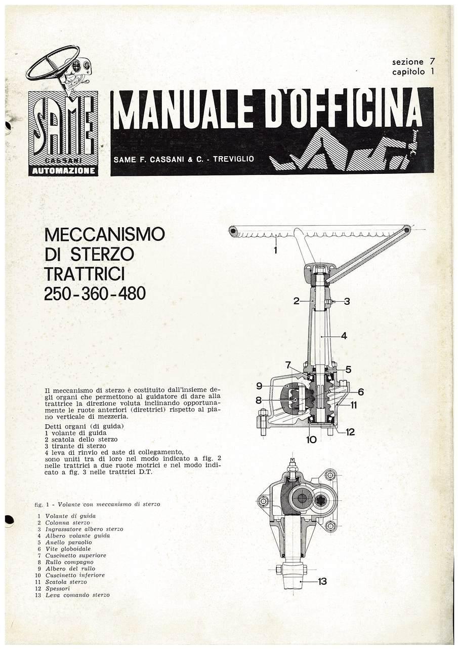 SAME 250-360-480 - Manuale di officina Sterzo
