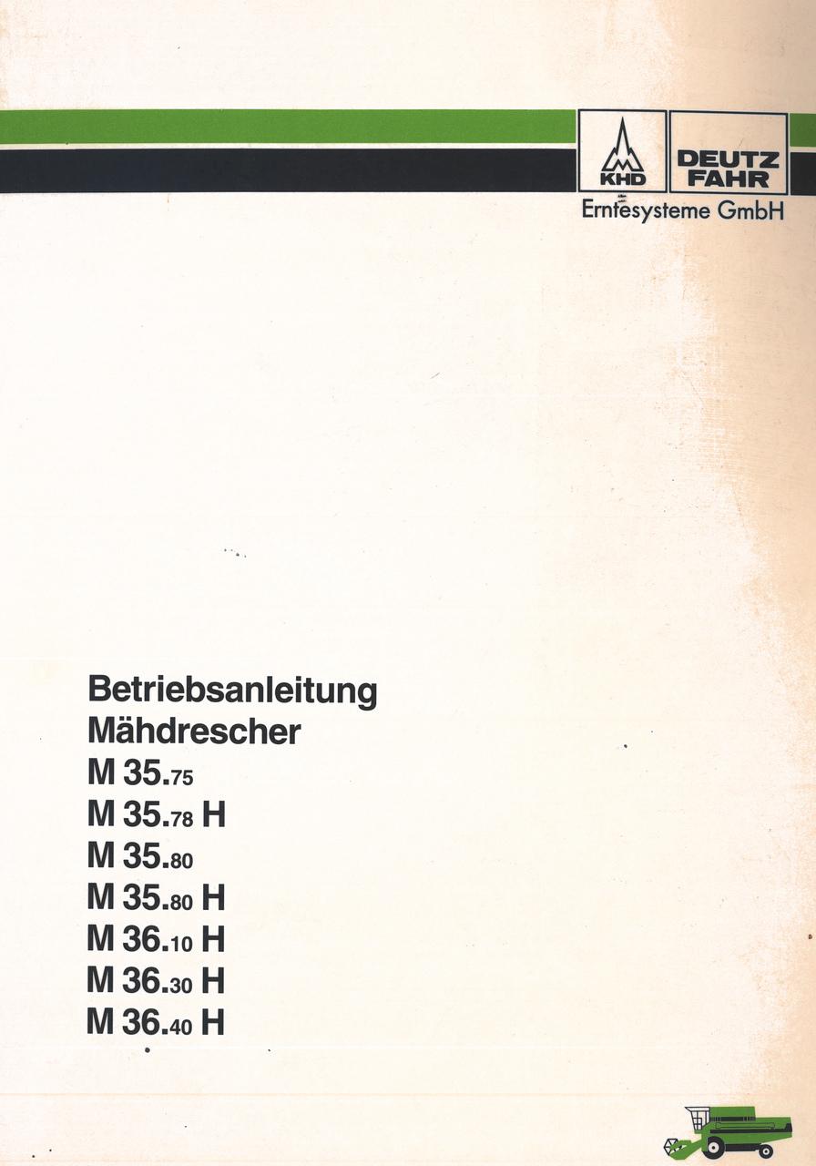 M 35.75 - M 35.78 H - M 35.80 - M 35.80 H - M 36.10 H - M 36.30 H - M 36.40 H - Betriebsanleitung