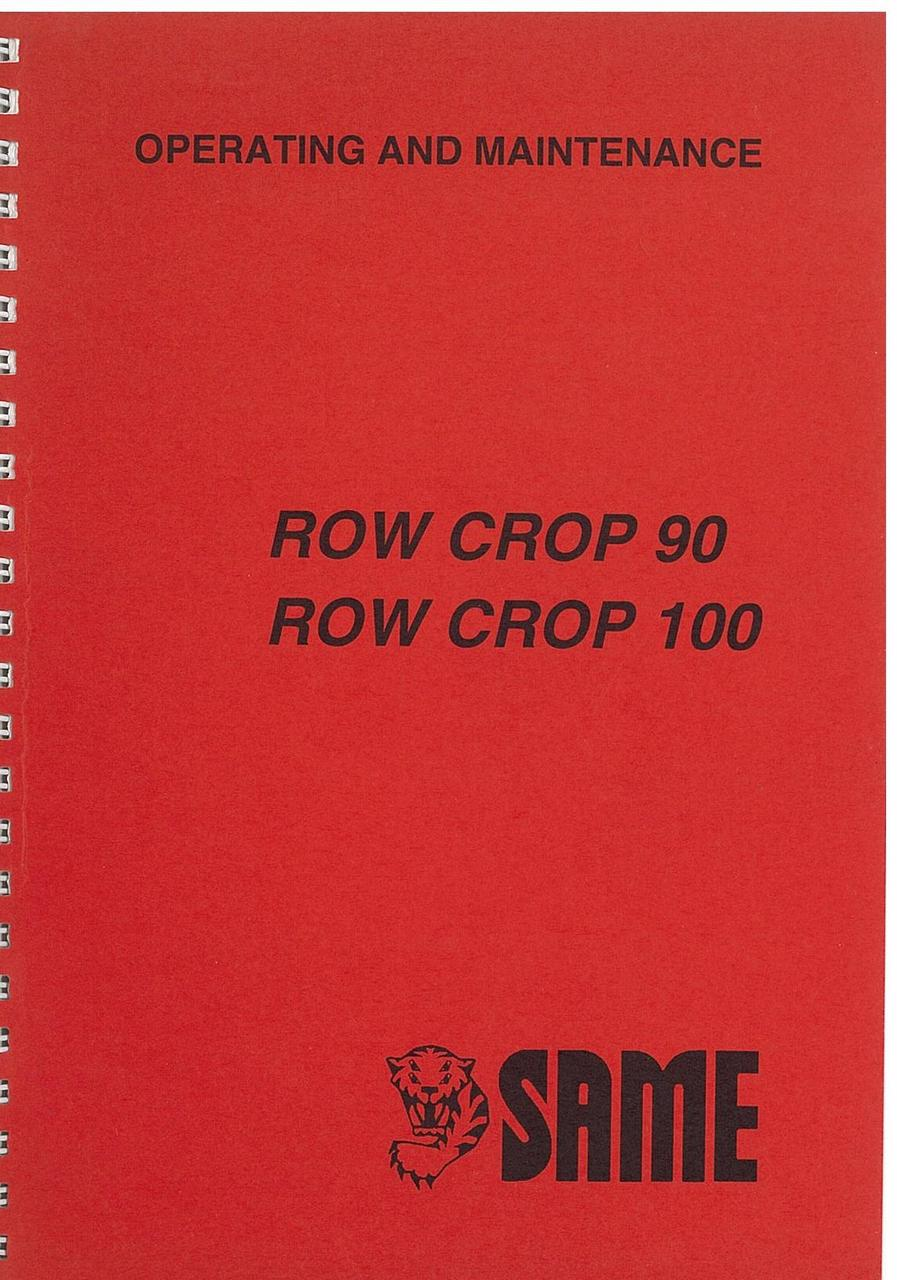 ROW CROP 90 -100 - Operating and maintenance