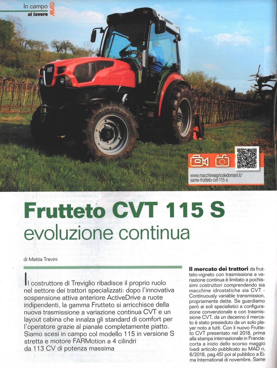 Frutteto CVT 115 S evoluzione continua