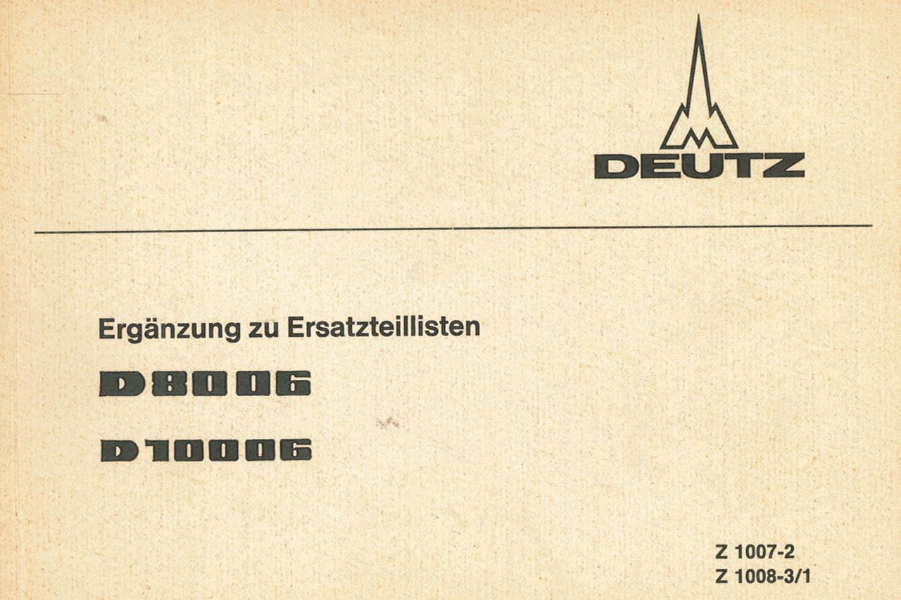 D 8006 - D 10006 - Ergänzung zu Ersatzteillisten