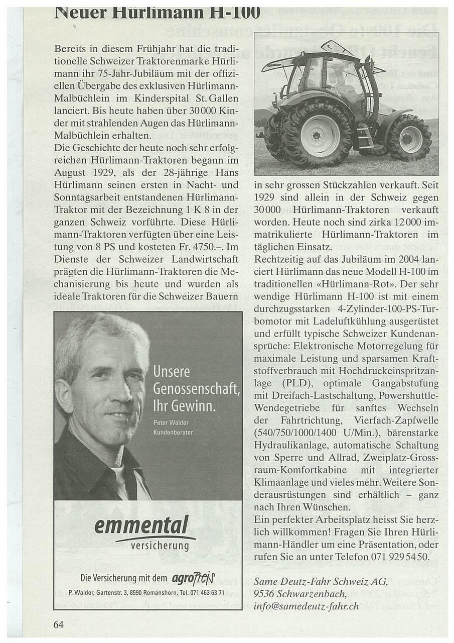 Neuer Hurlimann H-100
