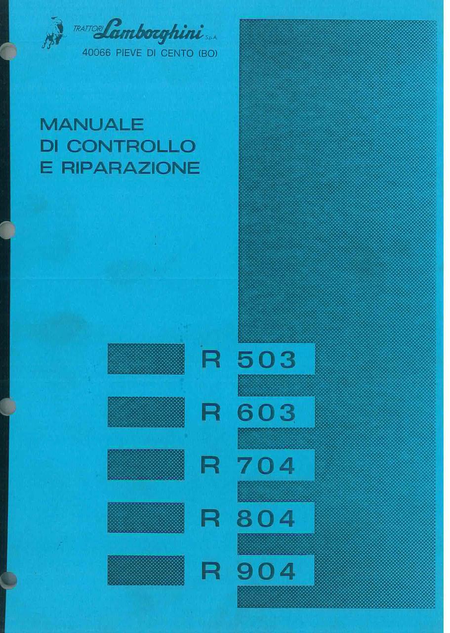 R 503 - 603 - 704 - 804 - 904 - Manuale d'Officina