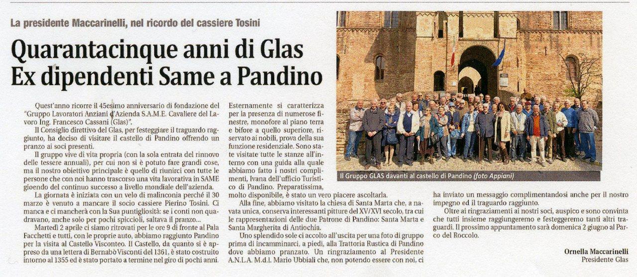 Quarantacinque anni di Glas. Ex dipendenti Same a Pandino