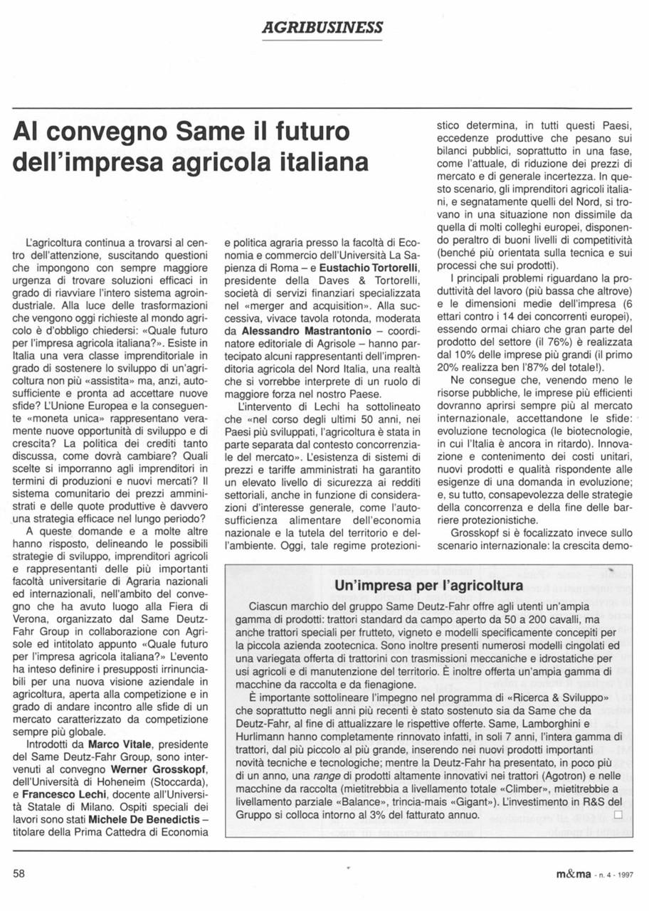 Al convegno SAME il futuro dell'impresa agricola italiana