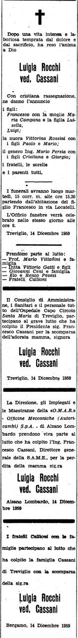 Necrologio Luigia Rocchi ved. Cassani,