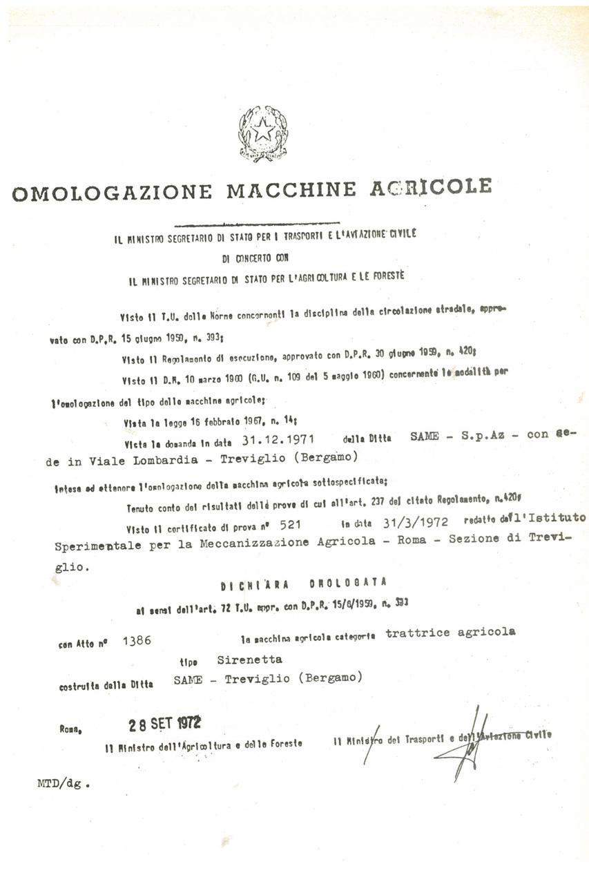 Atto di omologazione della trattrice SAME Sirenetta