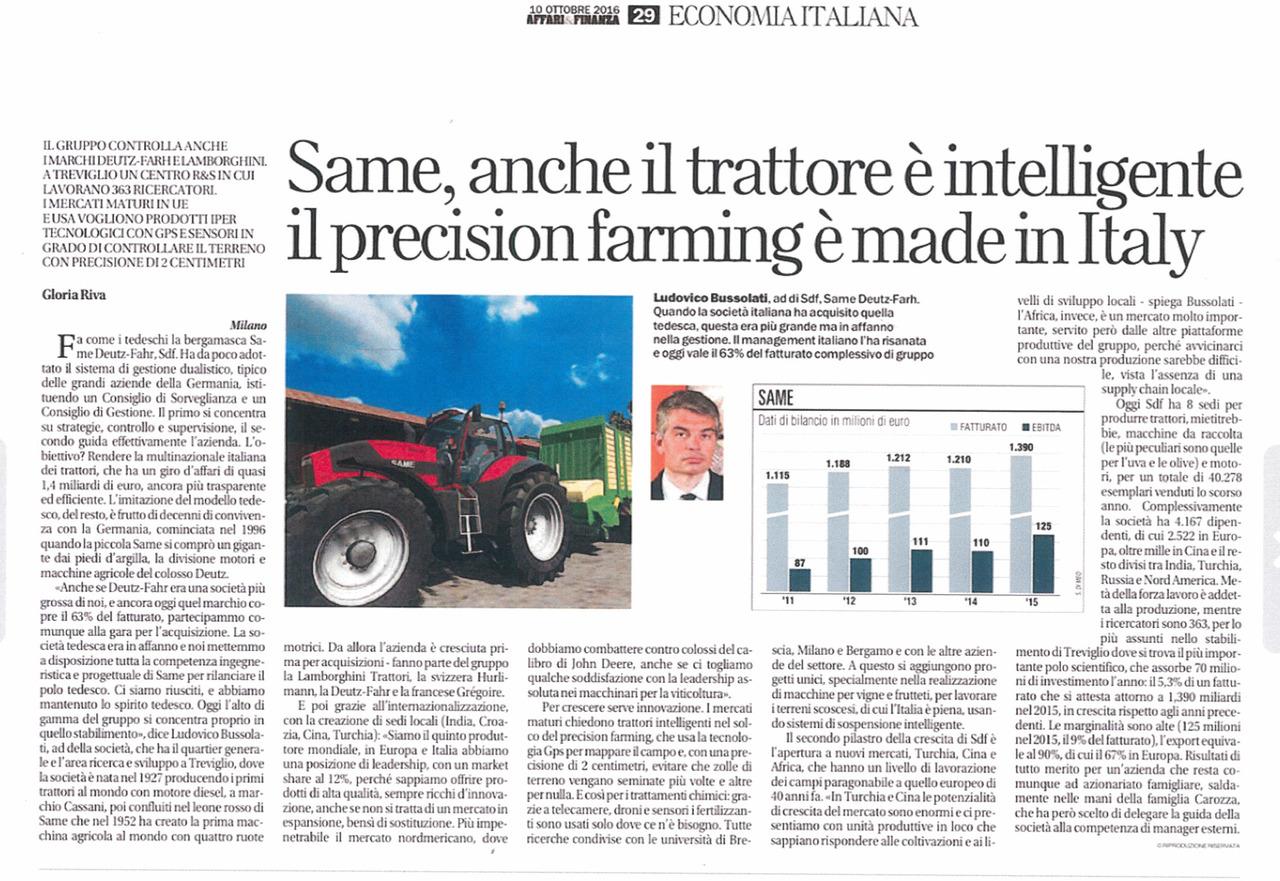 Same, anche il trattore è intelligente: il precision farming è made in Italy