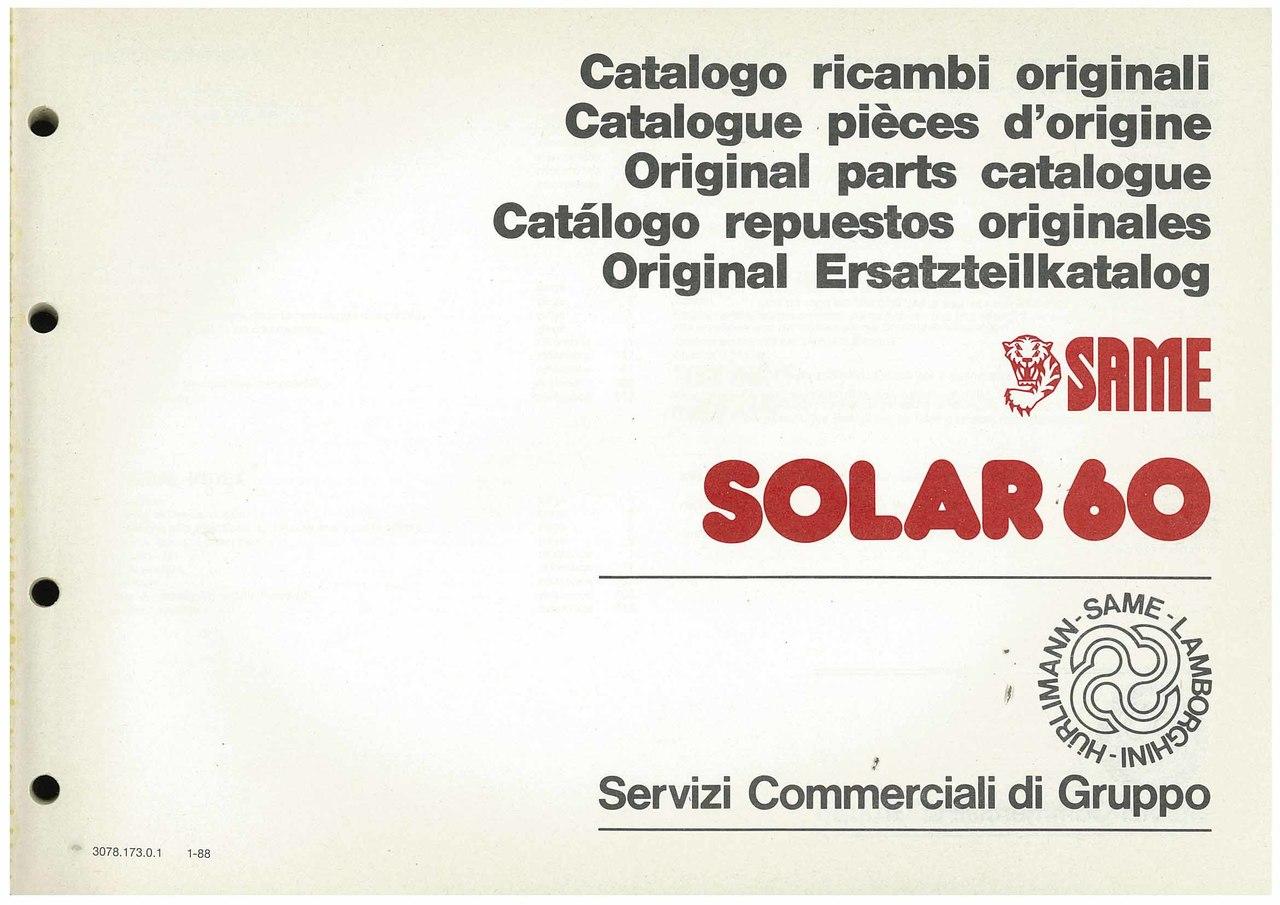 SOLAR 60 - Catalogo Parti di Ricambio / Catalogue de pièces de rechange / Spare parts catalogue / Ersatzteilliste / Lista de repuestos
