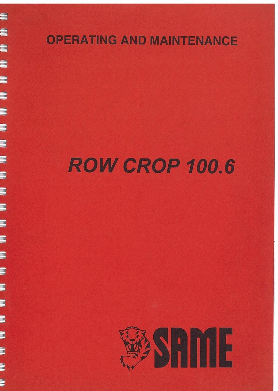 ROW CROP 100.6 - Operating and maintenance