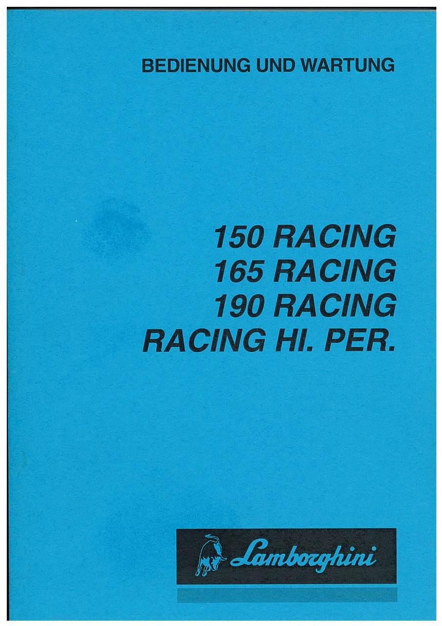 150 RACING - 165 RACING - 190 RACING - RACING HI.PER - Bedienung und Wartung