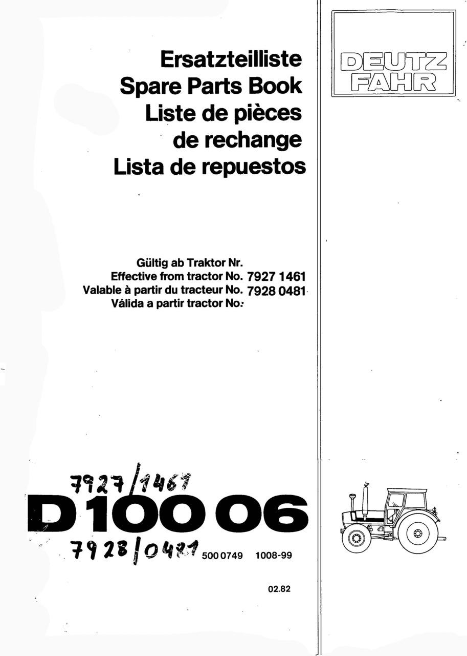 D 10006 - Ersatzteilliste / Spare Parts Book / Liste de pièces de rechange / Lista de repuestos