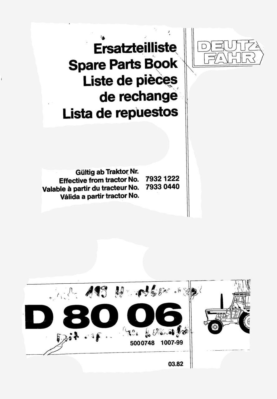 D 8006 - Ersatzteilliste / Spare Parts Book / Liste de pièces de rechange / Lista de repuestos