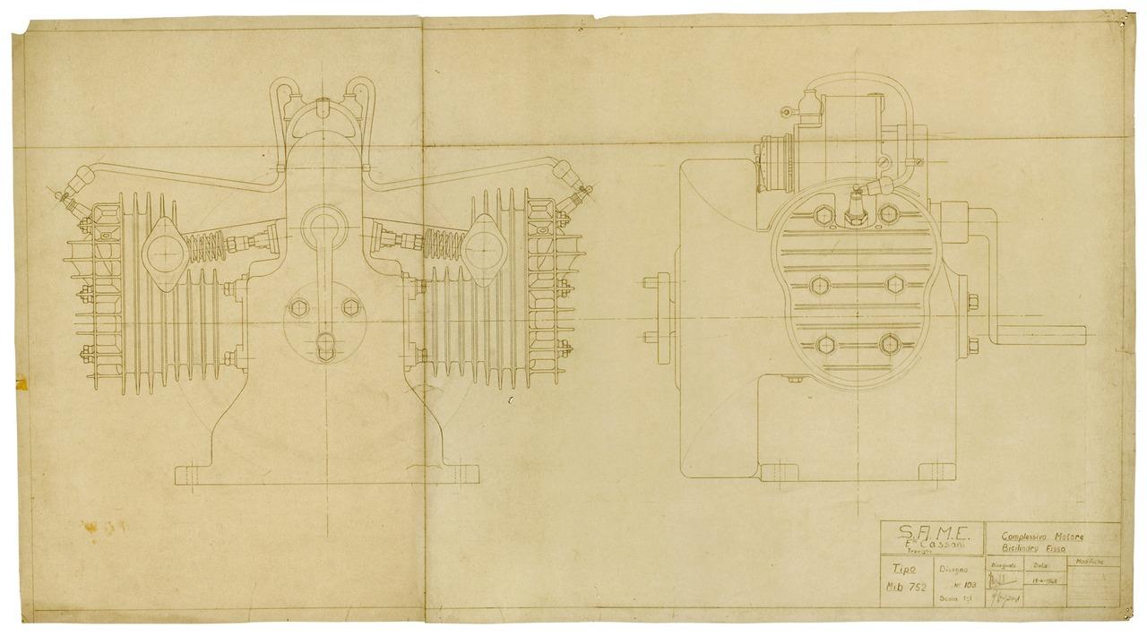 Motore MIB 752. Complessivo motore bicilindro fisso - Disegno 103