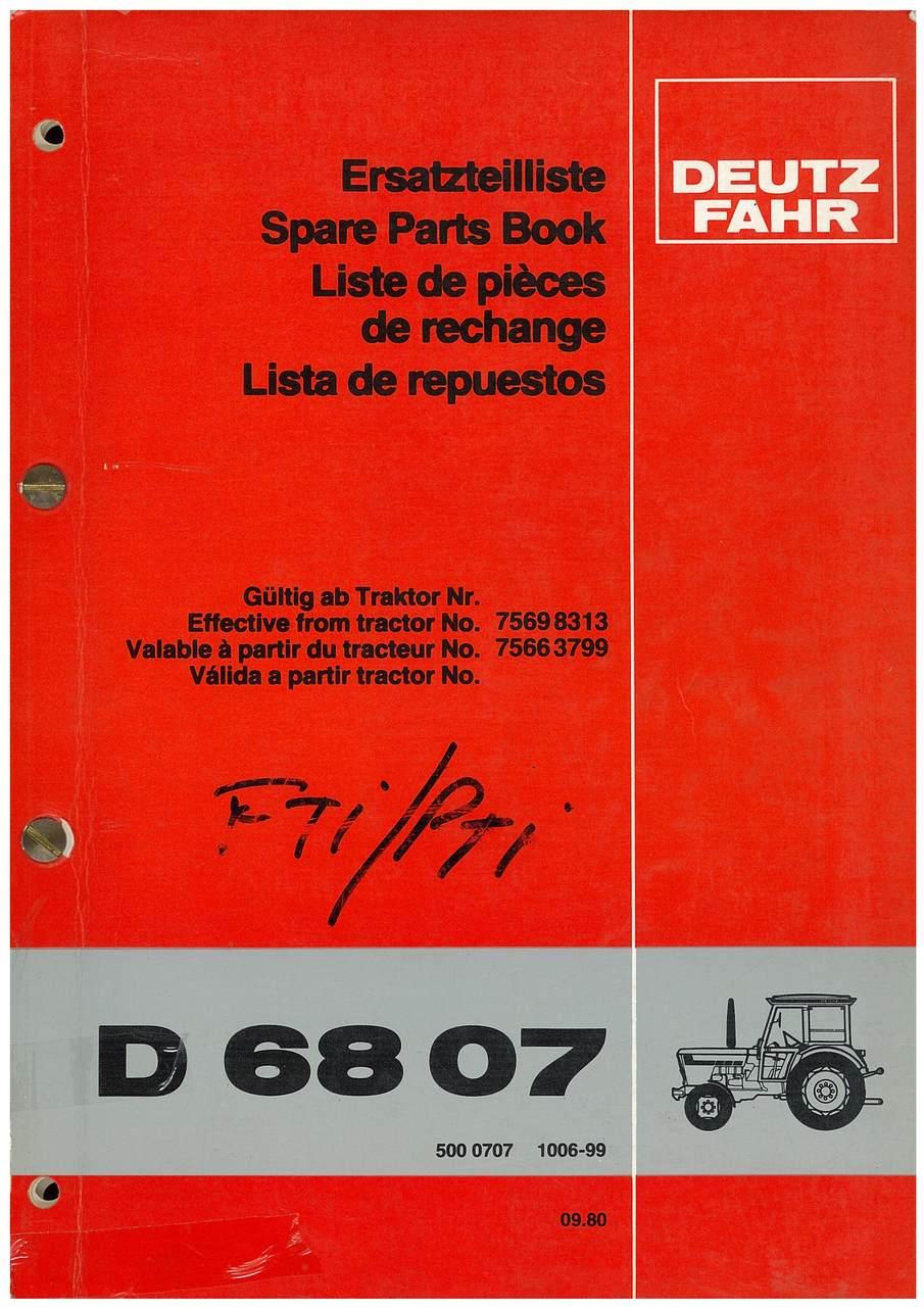 D 6807 - Ersatzteilliste / Spare Parts Book / Liste de pièces de rechange / Lista de repuestos