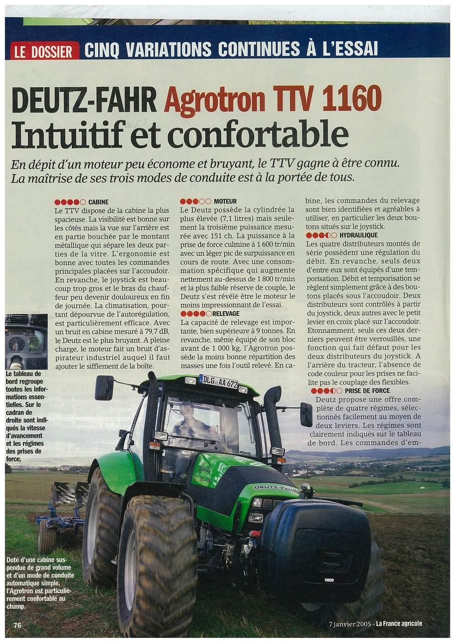 Deutz-Fahr Agrotron TTV 1160. Intuitif et confortable.