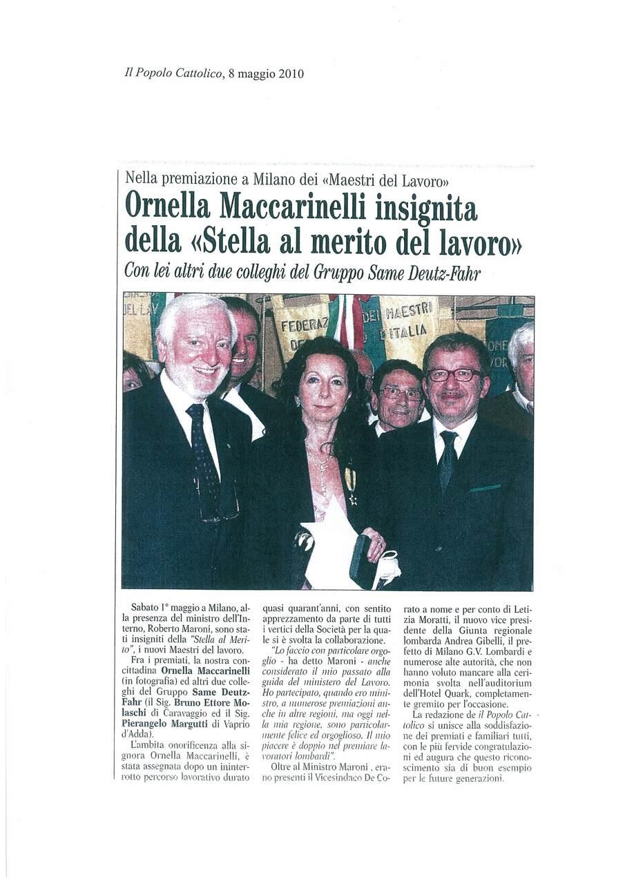"""Ornella Maccarinelli insignita della """"Stella al merito del lavoro"""""""