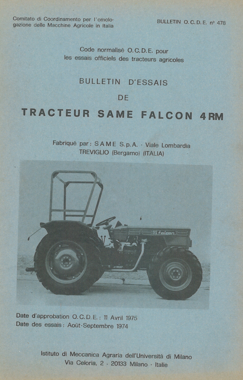 Bulletin d'essais de tracteur SAME Falcon 4RM