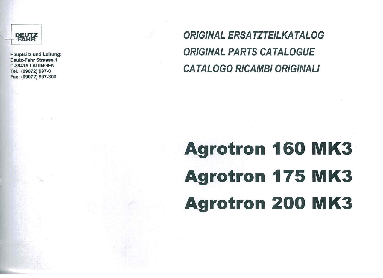 AGROTRON 160-175-200 MK3 - Original Ersatzteilkatalog / Original parts catalogue / Catalogo ricambi originali