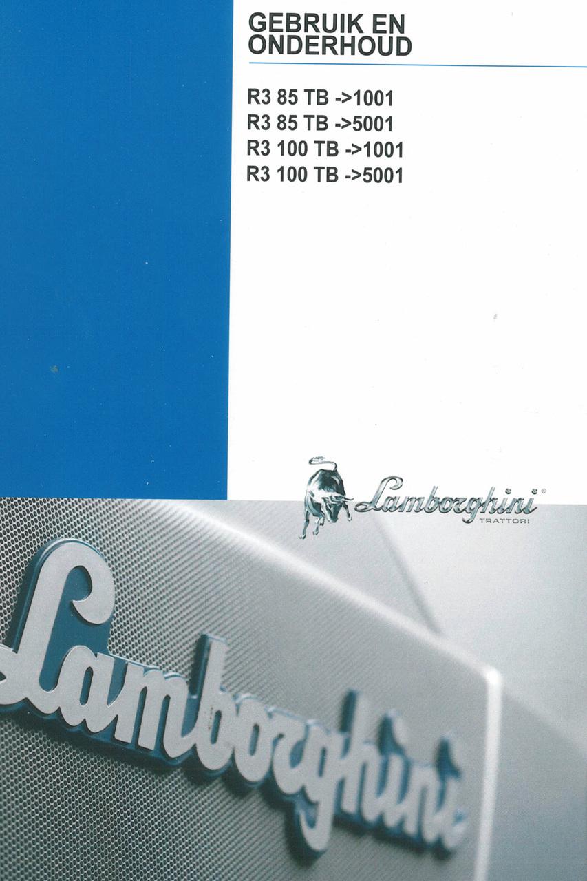 R3 85 TB ->1001 - R3 85 TB ->5001 - R3 100 TB ->1001 - R3 100 TB ->5001 - Gebruik en onderhoud