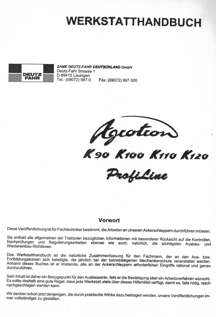 AGROTRON K 90 PROFILINE - AGROTRON K 100 PROFILINE - AGROTRON K 110 PROFILINE - AGROTRON K 120 PROFILINE - Werkstatthandbuch