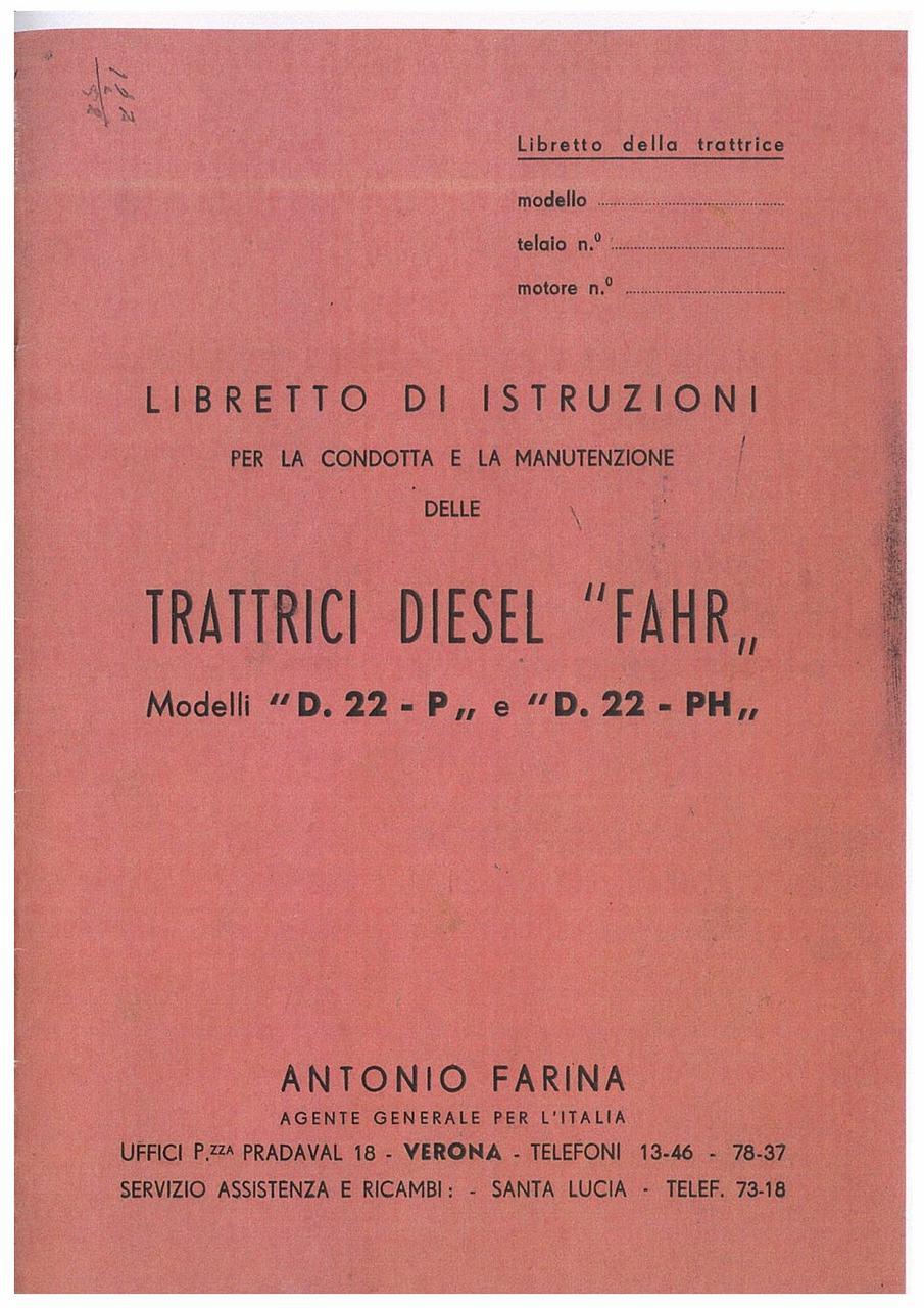 TRATTRICE DIESEL D 22 P - PH - Libretto Uso e Manutenzione