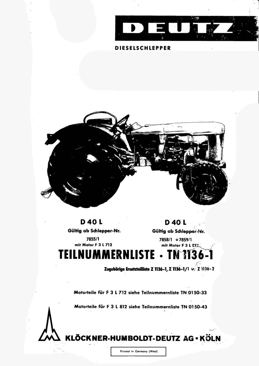 D 40 L - Ersatzteilliste
