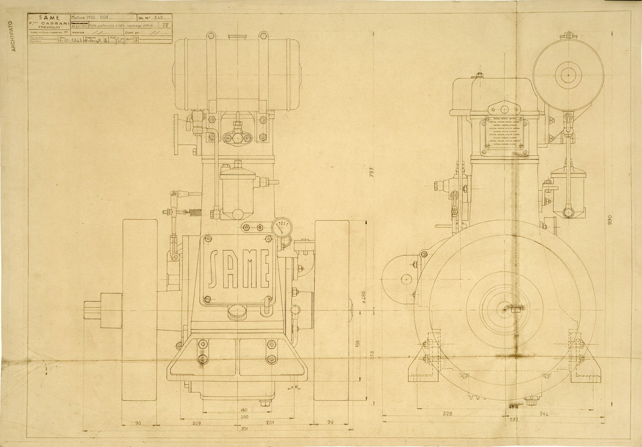 Motore MID 1101. Vista posteriore e lato ingranaggi distribuzione - Disegno 545