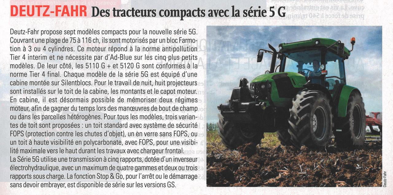 Deutz-Fahr Des tracteurs compacts avec la série 5 G