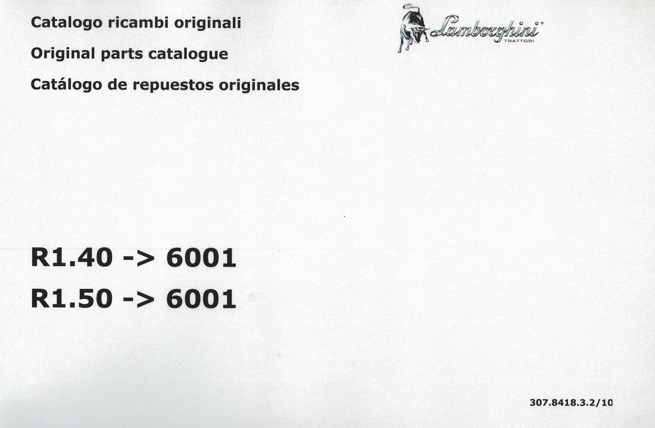 R1.40 ->6001 - R1.50 ->6001 - Catalogo ricambi originali / Original parts catalogue / Catalogo de repuestos originales
