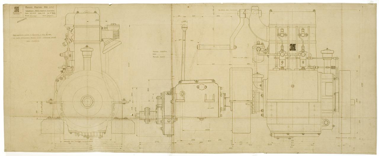 Motore MID 1152 Marino. Complessivo motore - Riduttore - Invertitore - Disegno 542