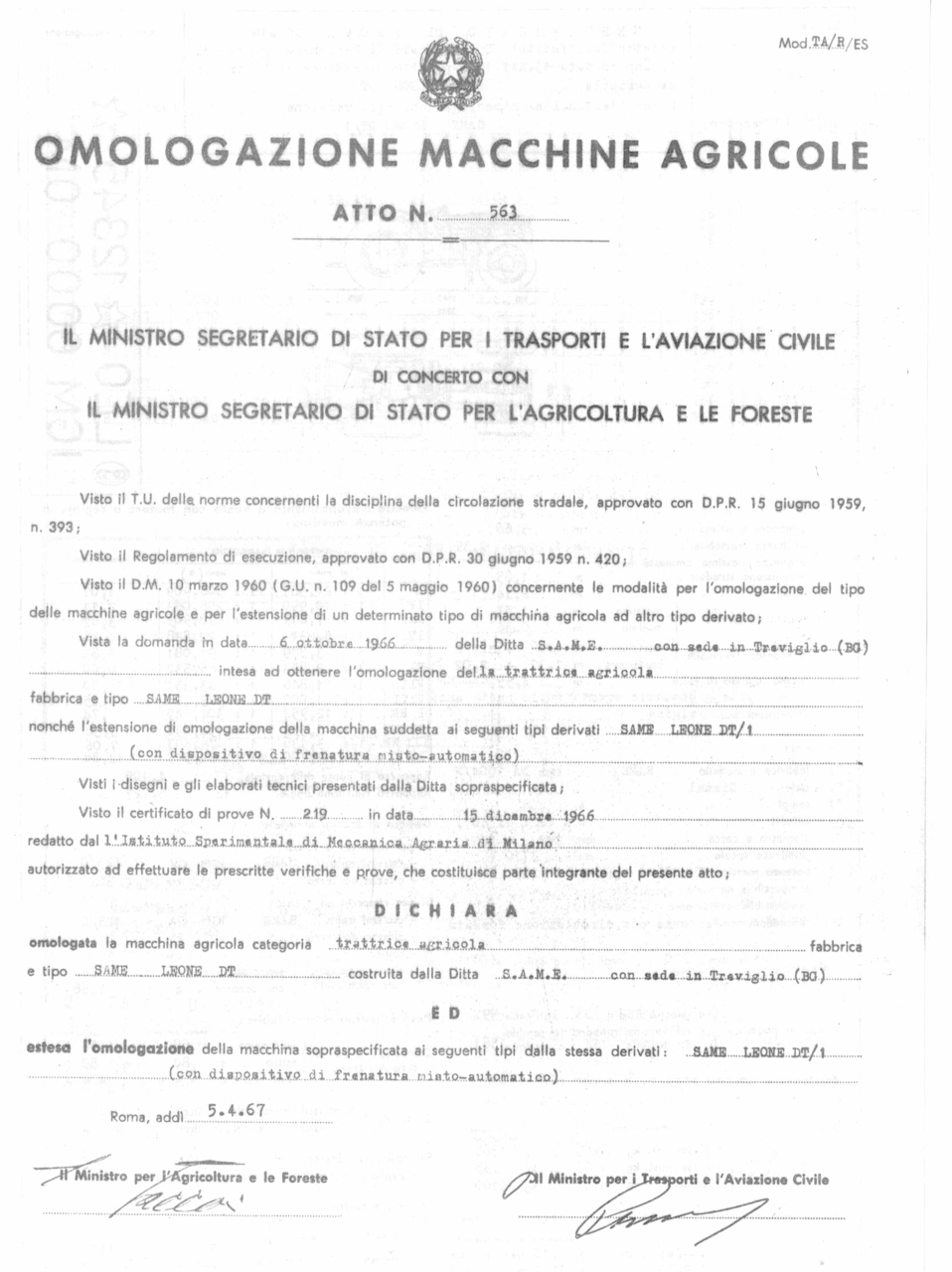 Atto di omologazione della trattrice SAME Leone DT e Leone DT/1