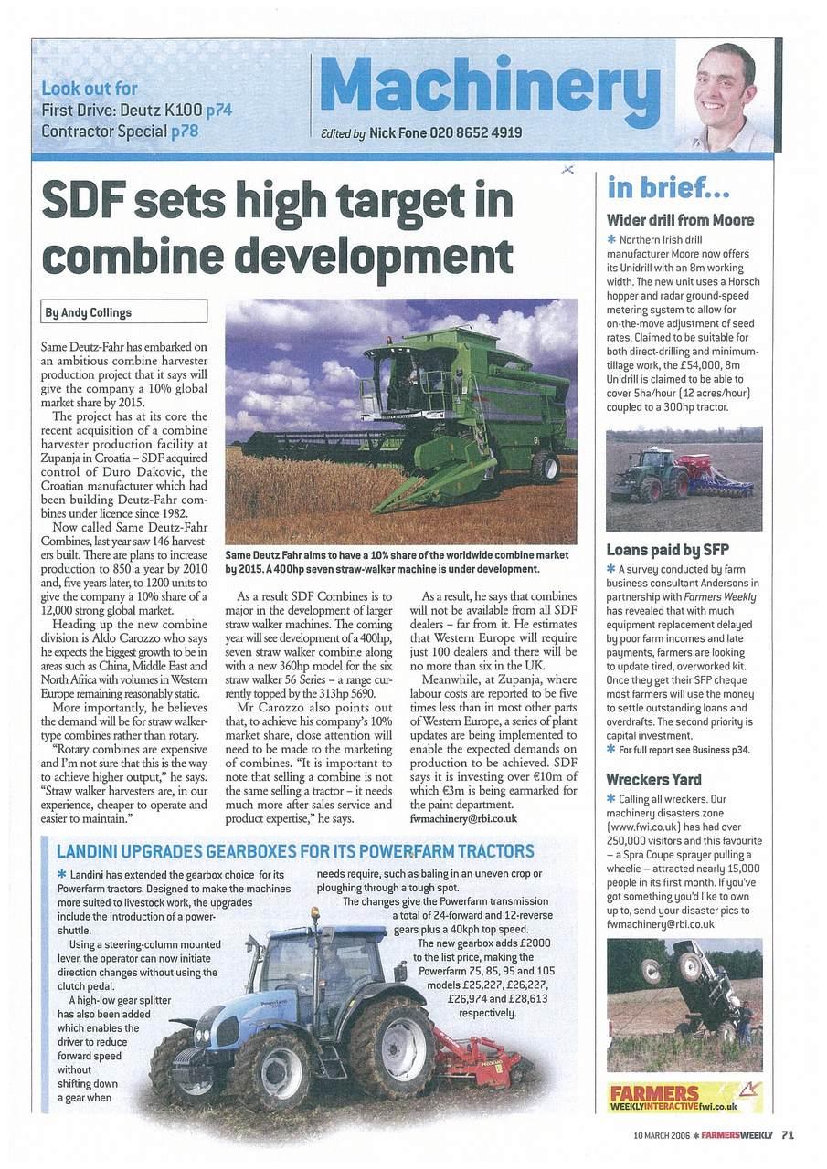 SDF sets high target in combine development