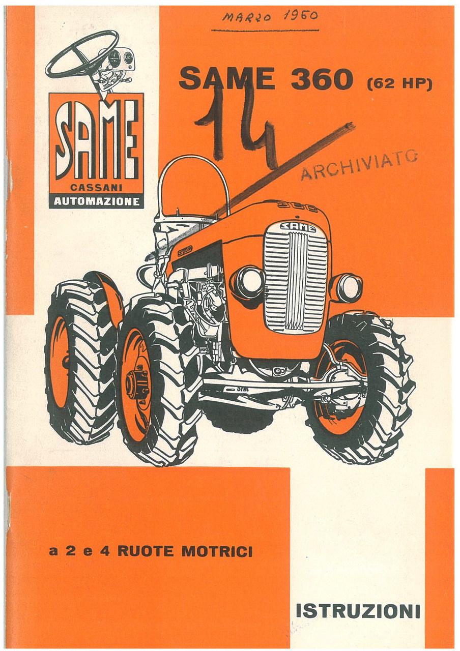 SAME 360 - 62 HP - Libretto uso & manutenzione