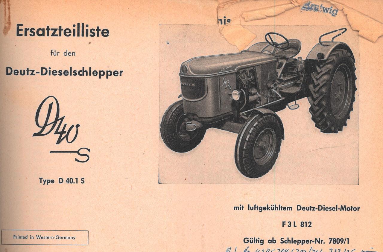 D 40 S - Ersatzteilliste gültig ab Schlepper nr. 7809/1