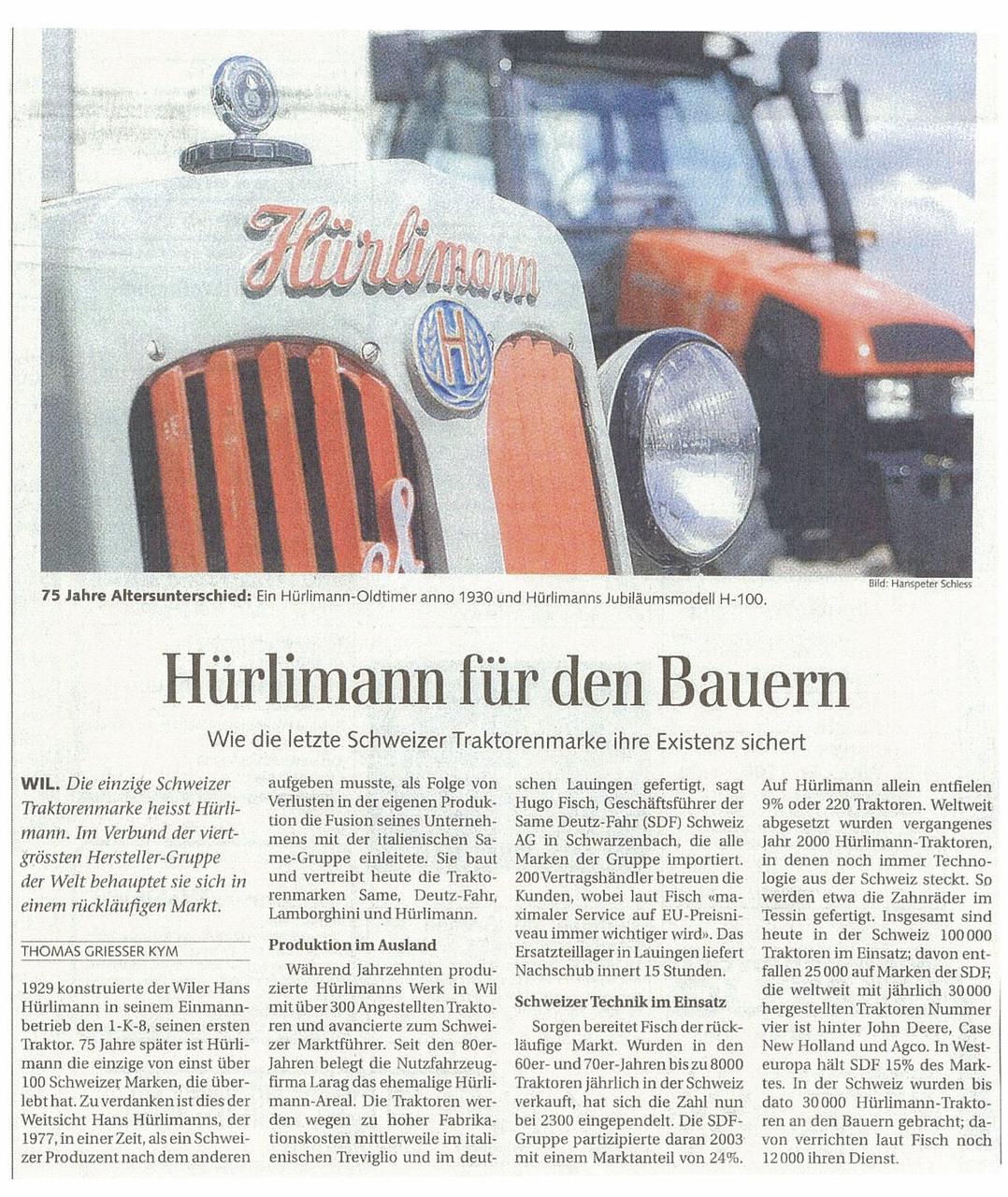 Hurlimann fur den Bauern