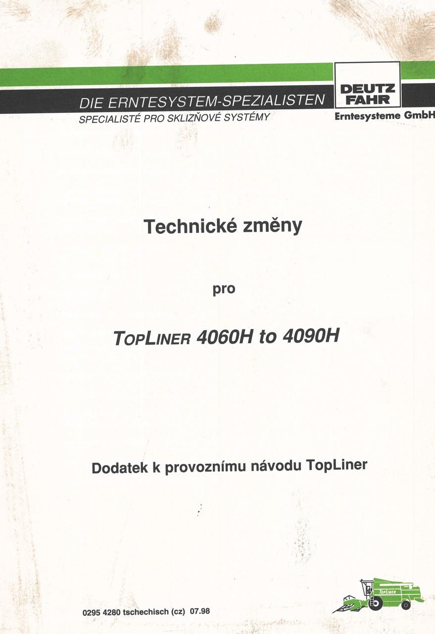 TOPLINER 4060 H to 4090 H - Dodatek k provoznimu navodu