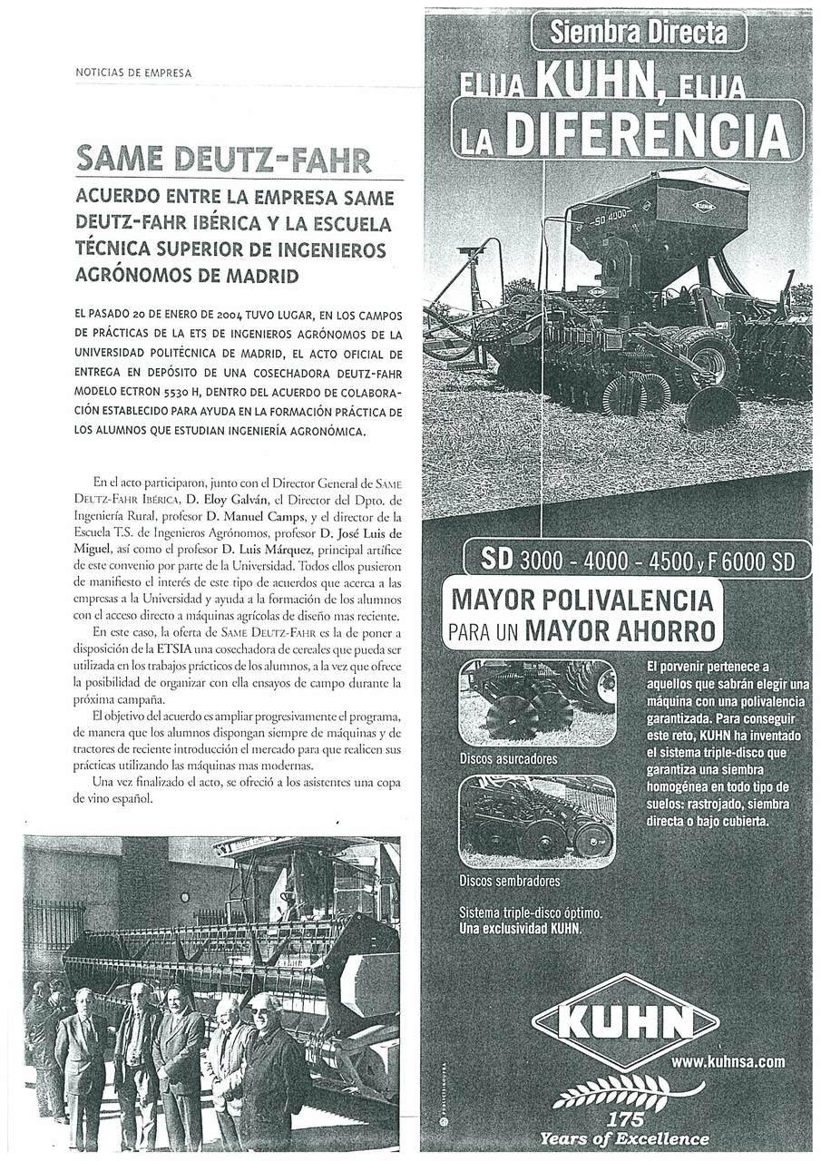SAME Deutz-Fahr: acuerdo entre la empresa SAME Deutz-Fahr Ibérica y la escuela técnica superior de ingenieros agronomos de Madrid
