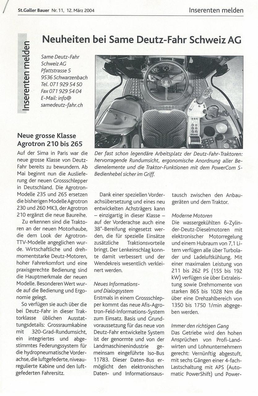 Neuheiten bei SAME Deutz-Fahr Schweiz AG