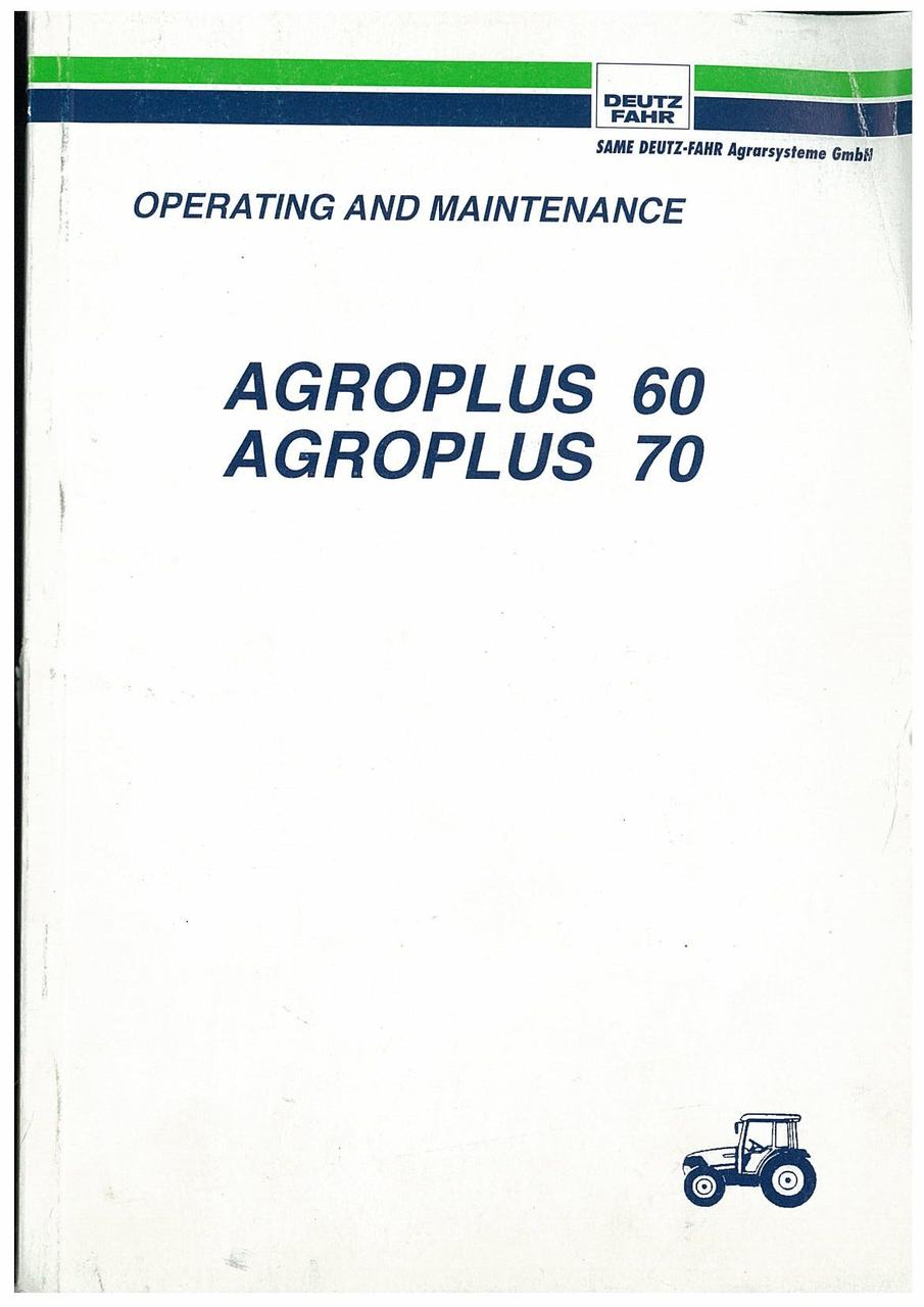 AGROPLUS 60-70 - Operating and Maintenance