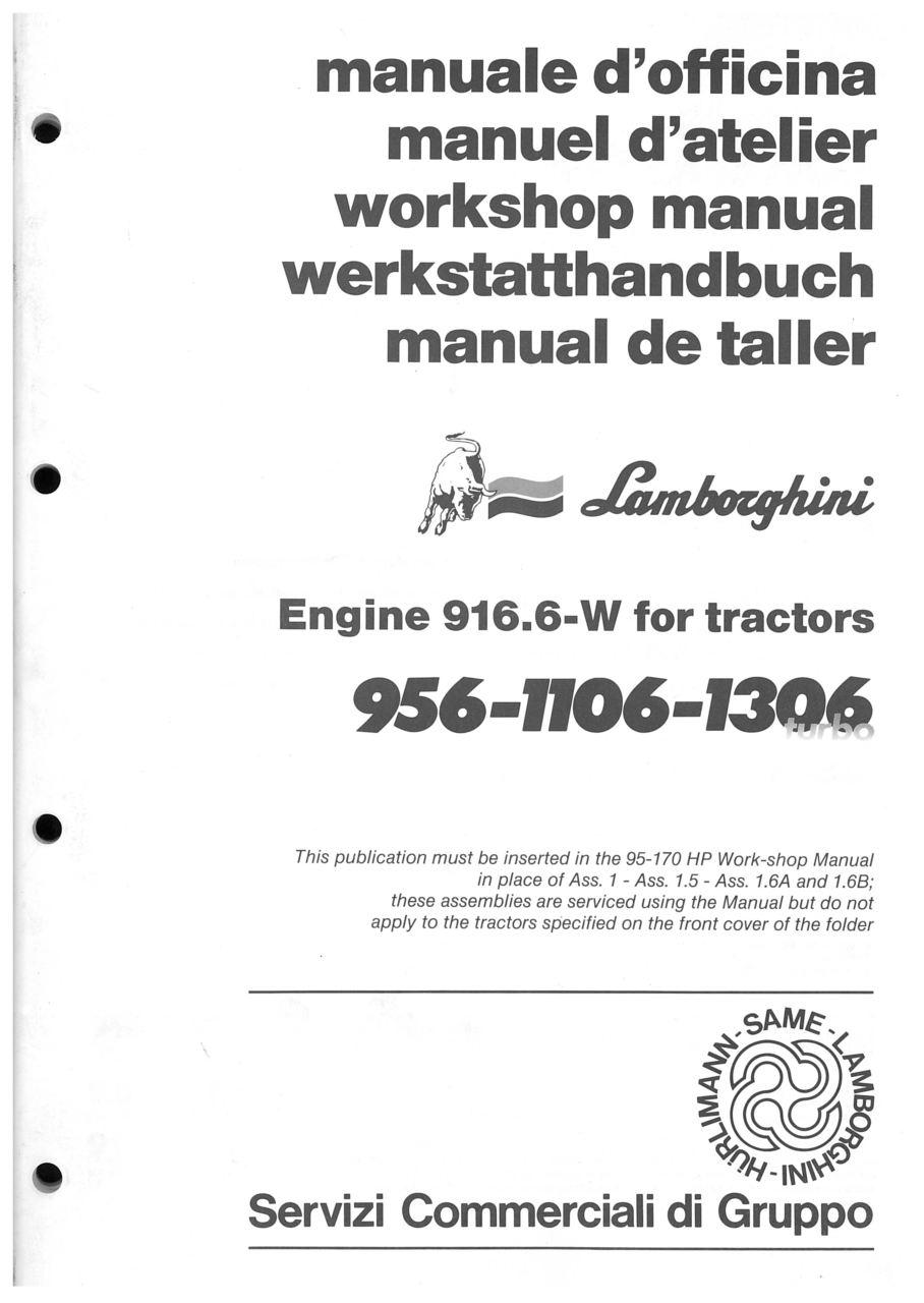 956-1106-1306 TURBO - Workshop manual