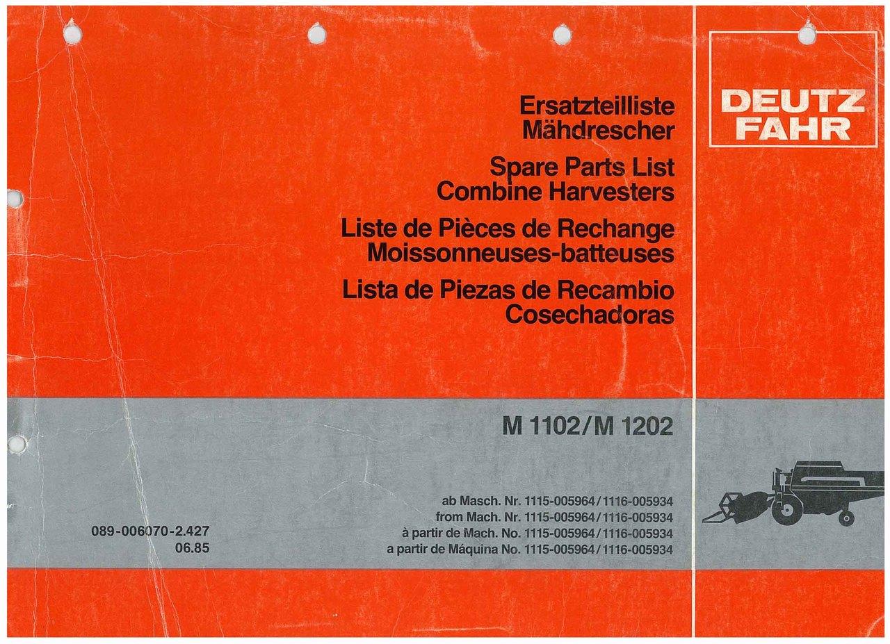 M 1102-M1202 - Ersatzteilliste / Liste de Pièces de Rechange / Spare Parts List / Elenco dei Pezzi di Ricambio / Lista de Piezas de Recambio