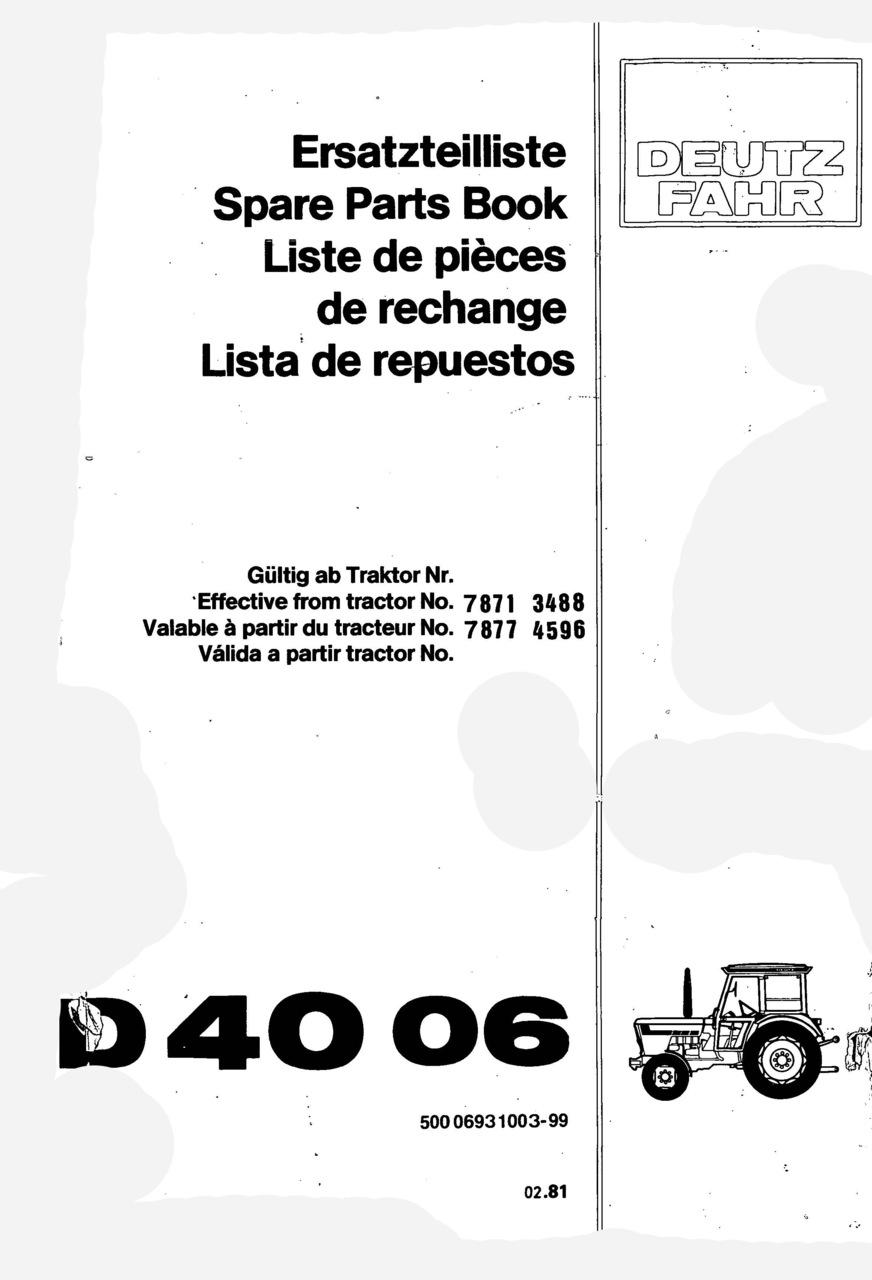 D 4006 - Ersatzteilliste / Spare Parts Book / Liste de pièces de rechange / Lista de repuestos