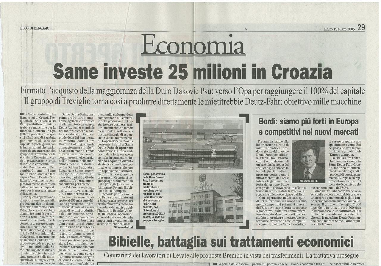 SAME investe 25 milioni in Croazia