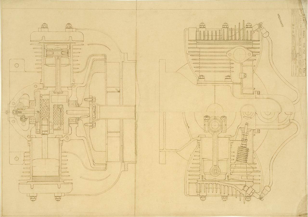 Motore MIB 752. Sezione verticale e orizzontale - Disegno 176