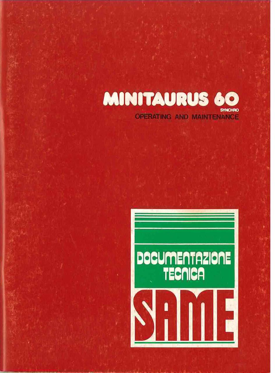 MINITAURUS 60 SYNCHRO - Operating and maintenance